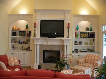 Custom Fireplace, Mantle and Bookcase