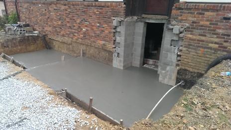 Foundation pour under new porch