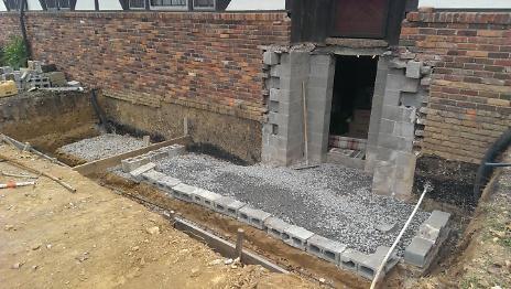 Foundation preperation under new porch