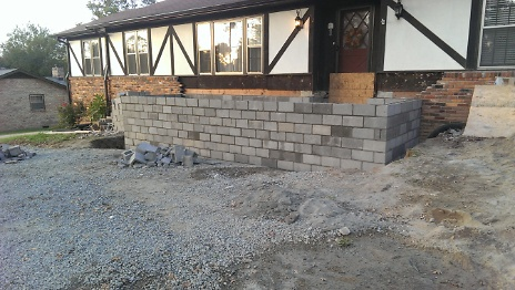 Core filled block construction for new porch