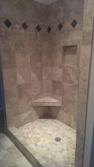 Finished master shower seat