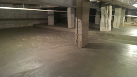 Finished concrete pour in basement crawl space 2