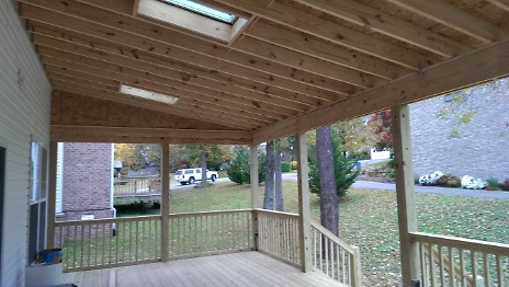 View from under covered deck