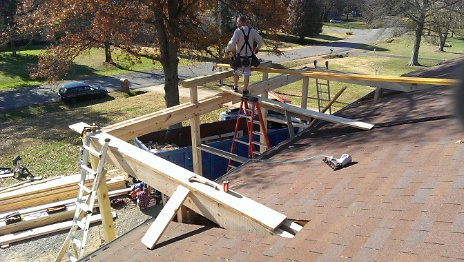 Gabled Porch Support Joists - Roof Tie-in