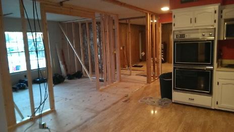 New Larger Kitchen wall framing
