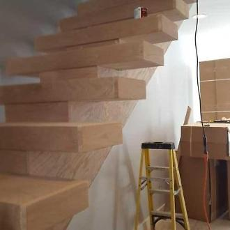 Floating Stairway before Stain